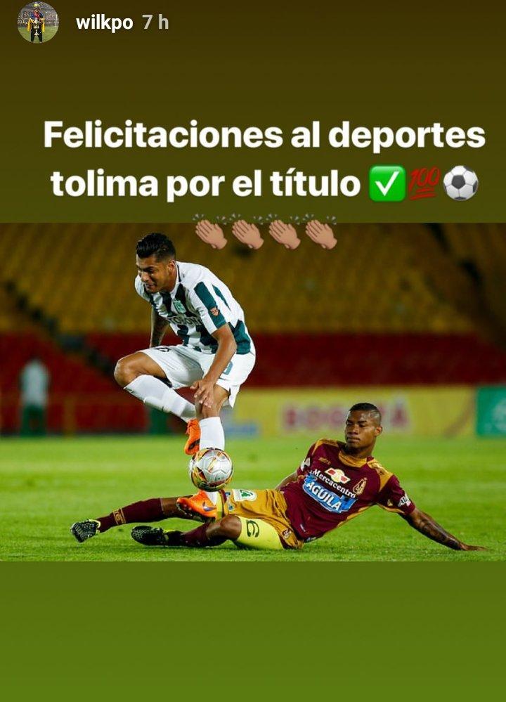 Wílmar Barrios felicitando al Deportes Tolima