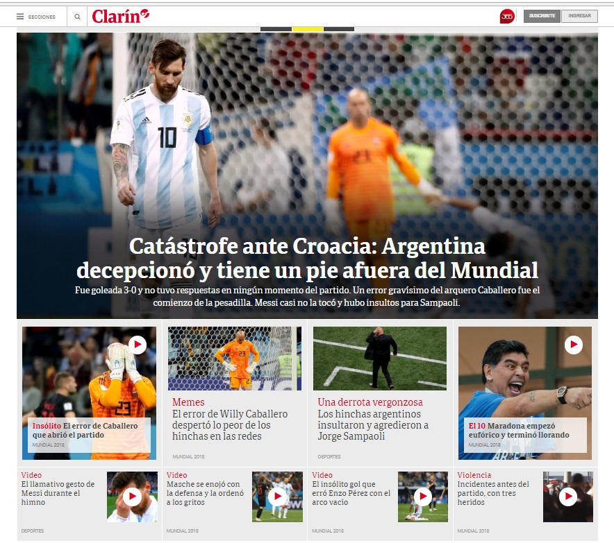 Portada del diario argentino Clarín
