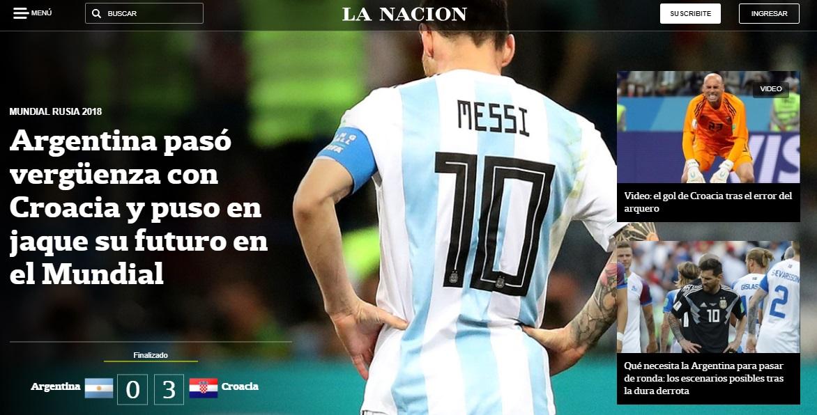 Portada diario argentino La Nación