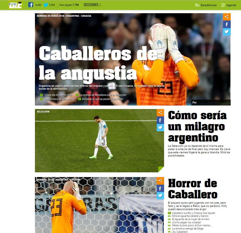 Portada principal del diario deportivo Olé