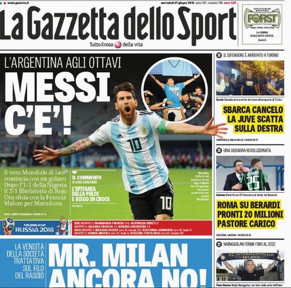 Portada La Gazzetta dello Sport