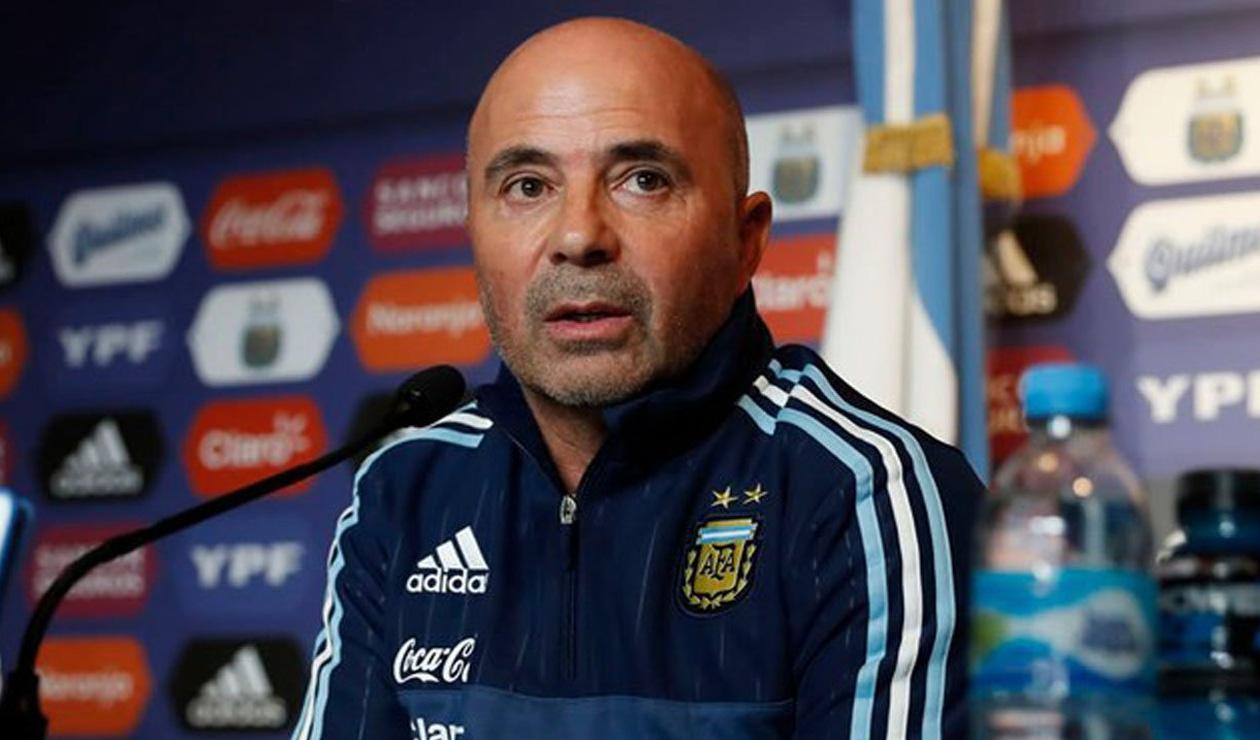 Jorge Sampaoli, técnico de Argentina, en rueda de prensa