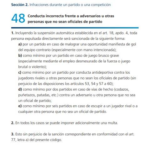 Código Disciplinario de la FIFA para el caso Carlos Sánchez
