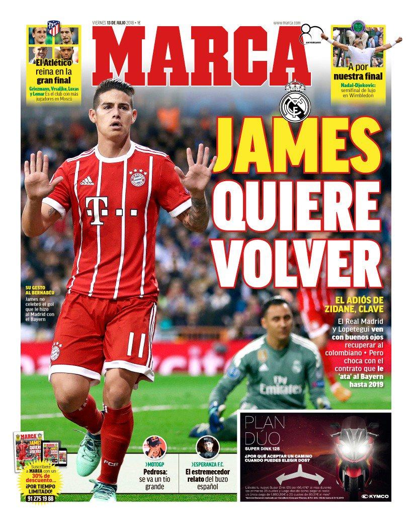 James Rodríguez, protagonista de la última portada del diario Marca