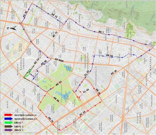 Mapa desvíos en el cuadrante de la Av. Calle 72 y Av. Calle 63 entre Av. NQS y Av. Carrera 68