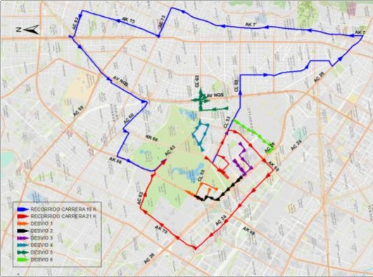Mapa desvío del cuadrante de la Calle 57 y Av. Calle 45 entre Av. NQS y Av. Caracas