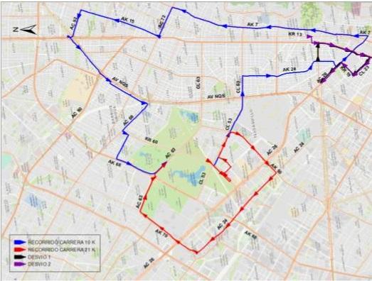 Mapa desvíos del cuadrante de la Calle 39 y Av. Calle 26 entre Av. Carrera 24 y Carrera 5