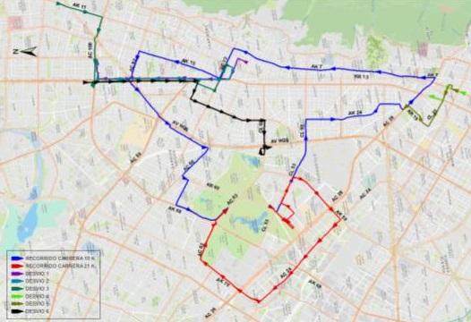 Mapa desvíos del cuadrante de la Carrera 5 y Av. Caracas entre Av. Calle 26 y Av. Calle 100