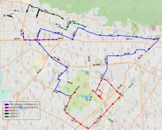 Mapa desvíos en el sector de la Av. Carrera 15, en el cuadrante de la Av. Calle 72 y Av. Calle 100 entre Av. Carrera 7 y Av. Caracas