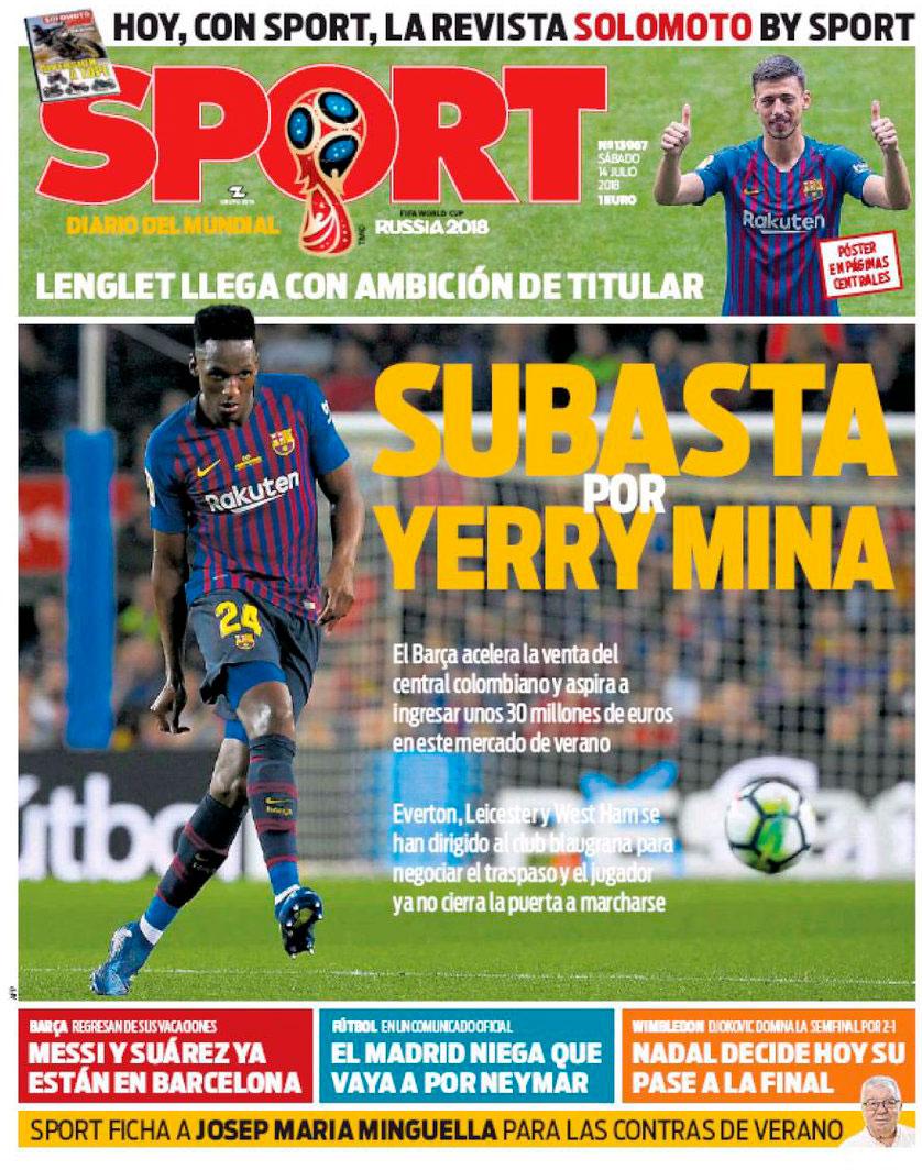 Yerry Mina, en la portada del diario Sport