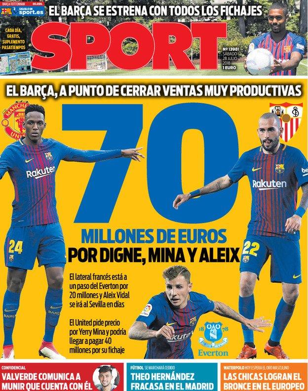 Yerry Mina, protagonista en la portada del diario Sport de Barcelona
