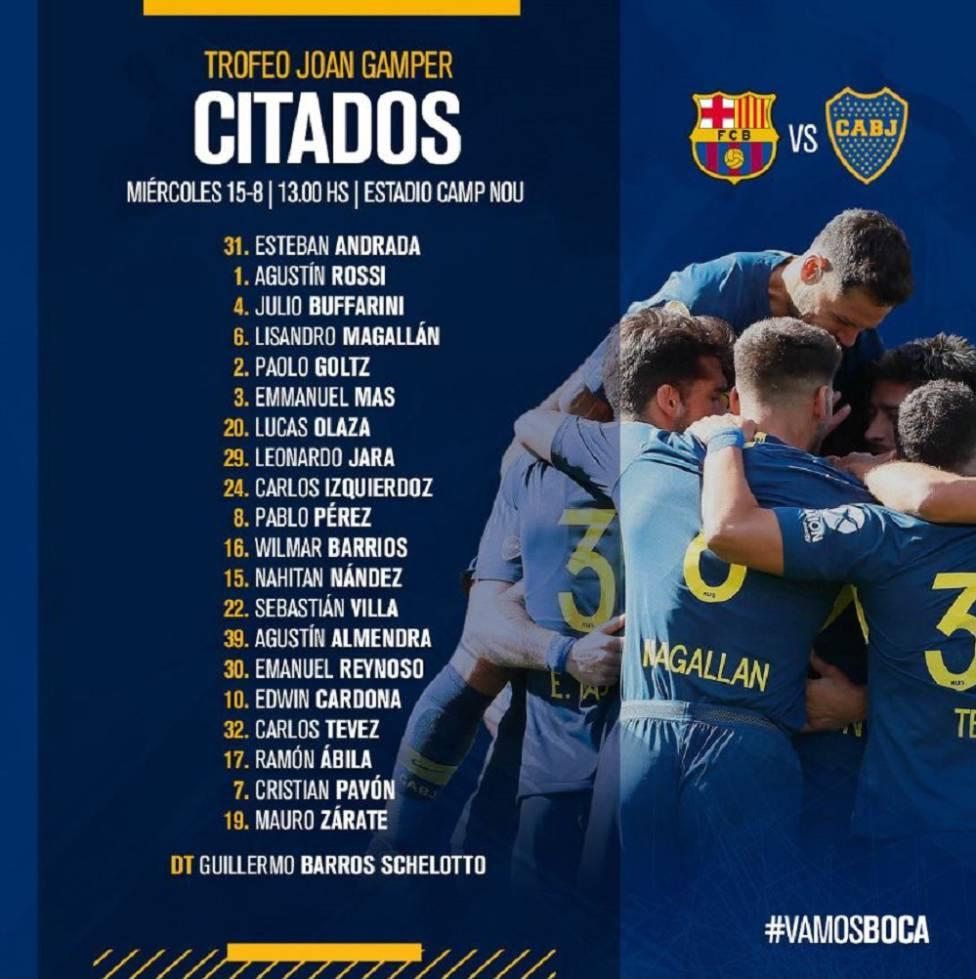 Convocados de Boca Juniors para luchar por el título Joan Gamper.