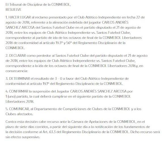 Sanción que entrega Conmebol Santos de Brasil por alineación indebida de Carlos Sánchez