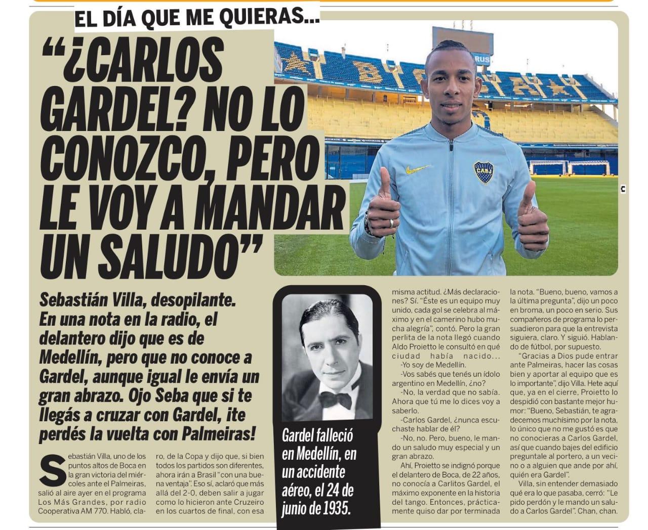 Publicación del Diario Olé de Argentina