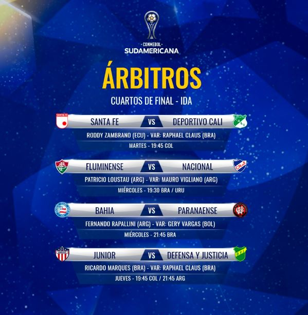 Árbitros, cuartos de final - ida, Copa Sudamericana