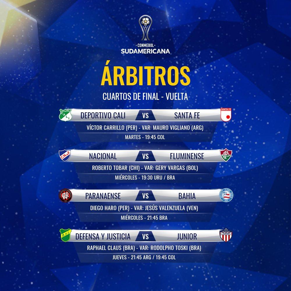 Árbitros cuartos de final - vuelta de Copa Sudamericana