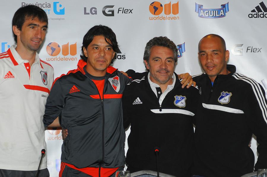 Juan Manuel Lillo y Mayer Candelo junto a Marcelo Barovero y Marcelo Gallardo