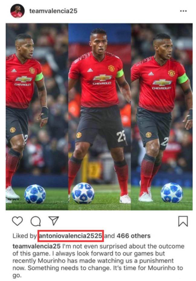 Antonio Valencia dio 'like' a una publicación de Instagram donde se pedía la salida de Mourinho