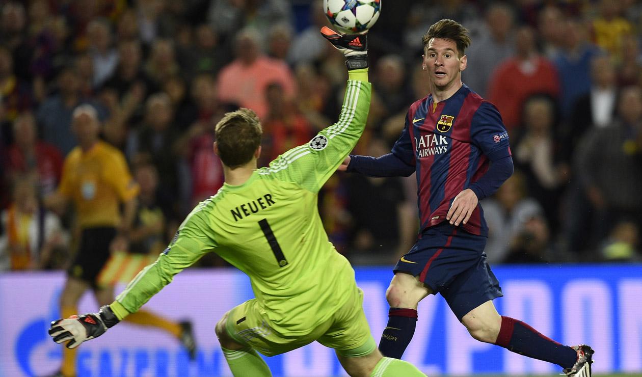 Messi batiendo a Manuel Neuer en la Champions 2015