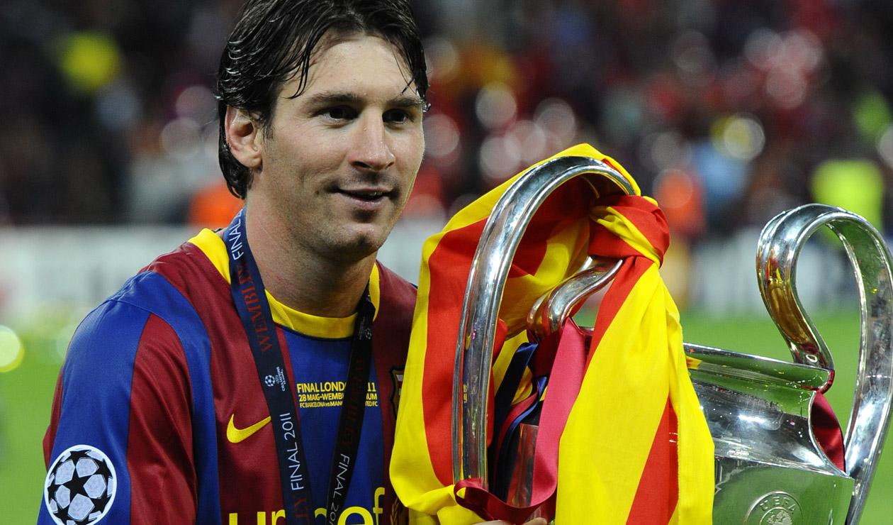 Messi levantando la Champions en Wembley en 2011