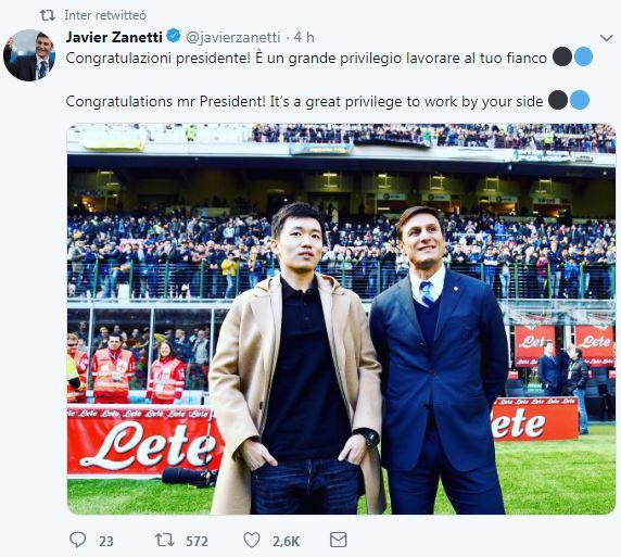 Javier Zanetti en Twitter