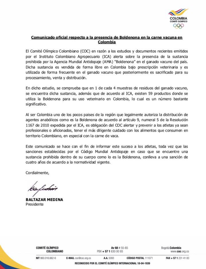 Comunicado del Comité Olímpico Colombiano respecto a la boldenona