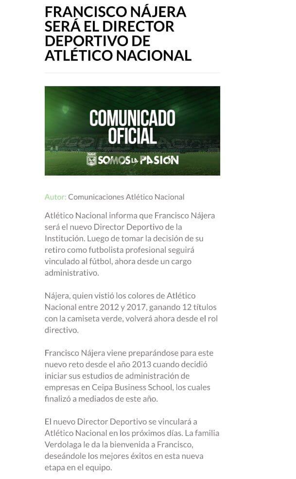Comunicado oficial Atlético Nacional