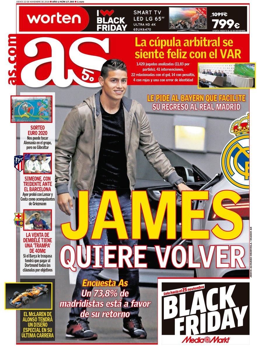 Portada de AS sobre James Rodríguez y su retorno al Real Madrid