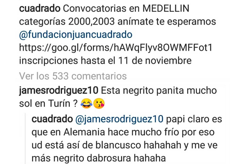 Cuadrado le responde a James Rodríguez en Instagram