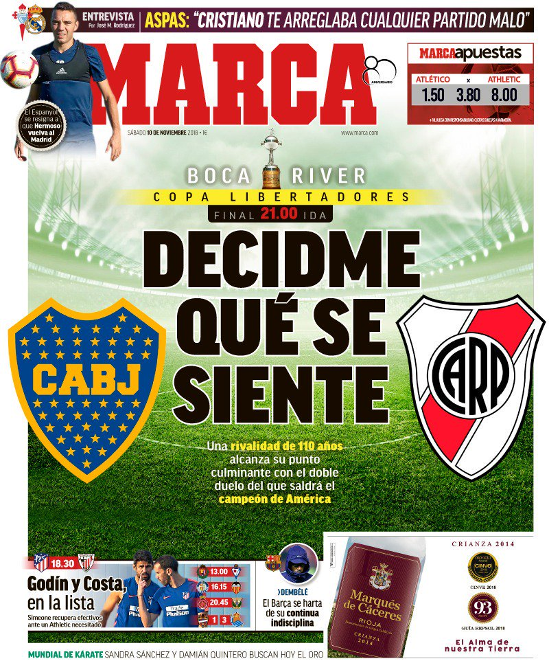 Portada de Marca España sobre el Superclásico Boca vs River