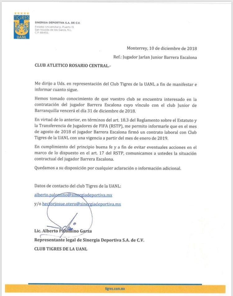 Carta de Tigres a Rosario Central
