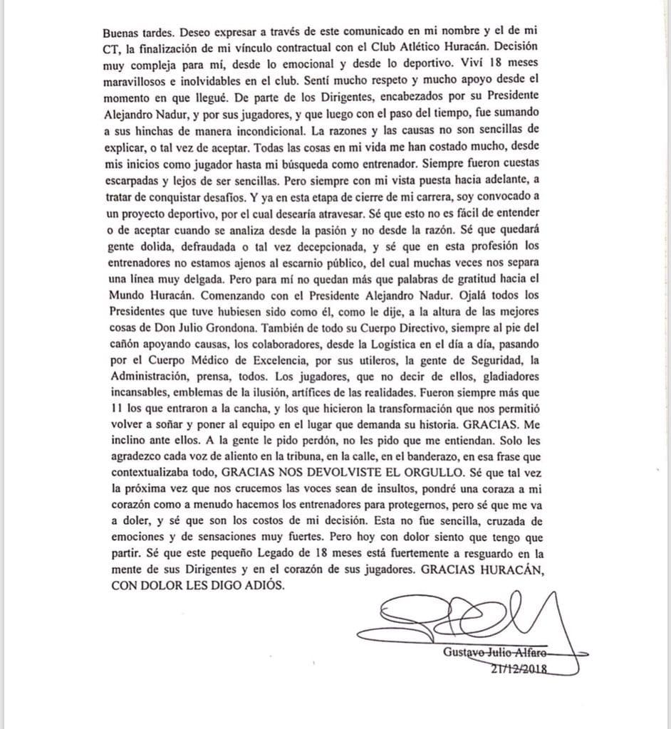 Carta Gustavo Alfaro