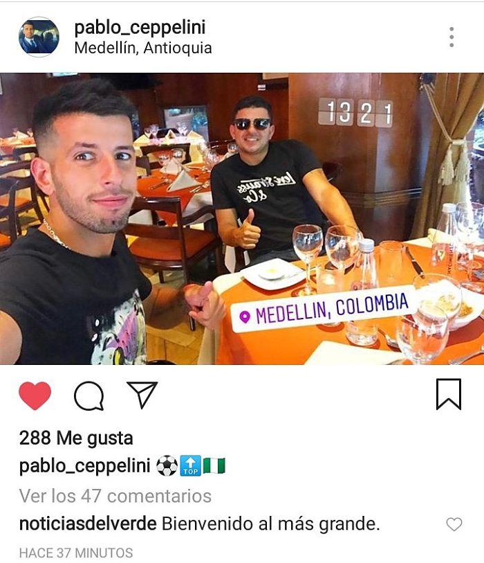 Pablo Ceppelini publicó en Instagram su llegada a Medellín