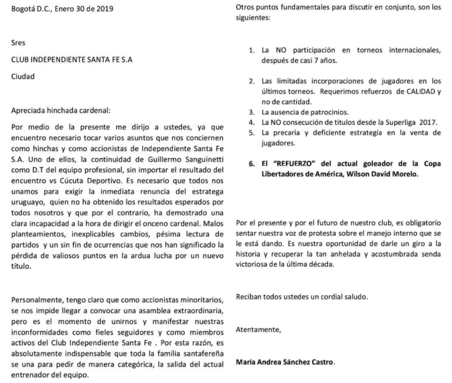 Carta realizada por socios de Santa Fe