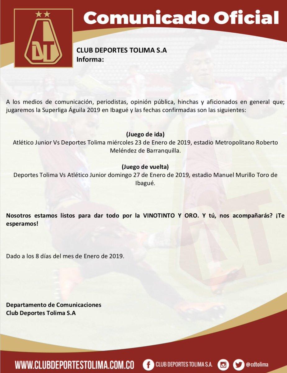 Comunicado Deportes Tolima