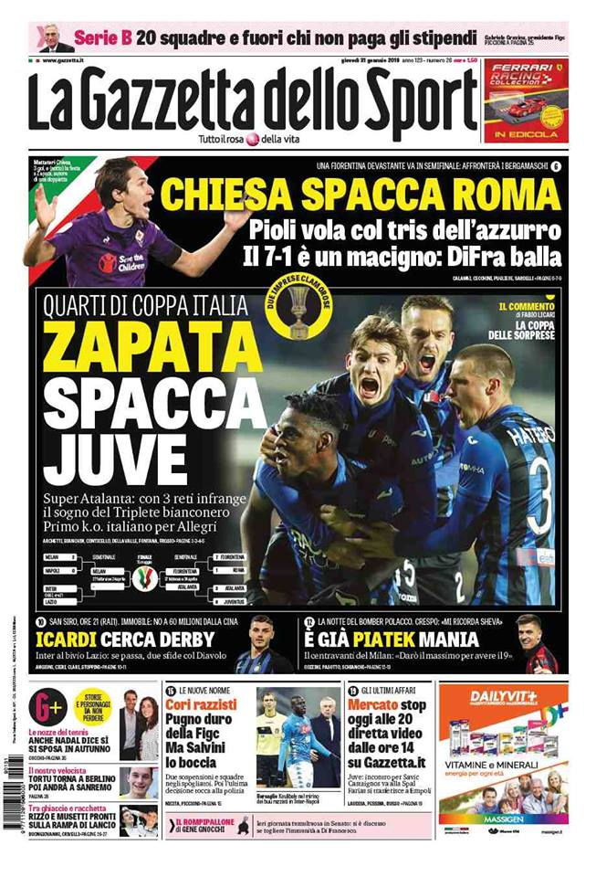 Duván Zapata, protagonista en la portada de la Gazzetta dello Sport
