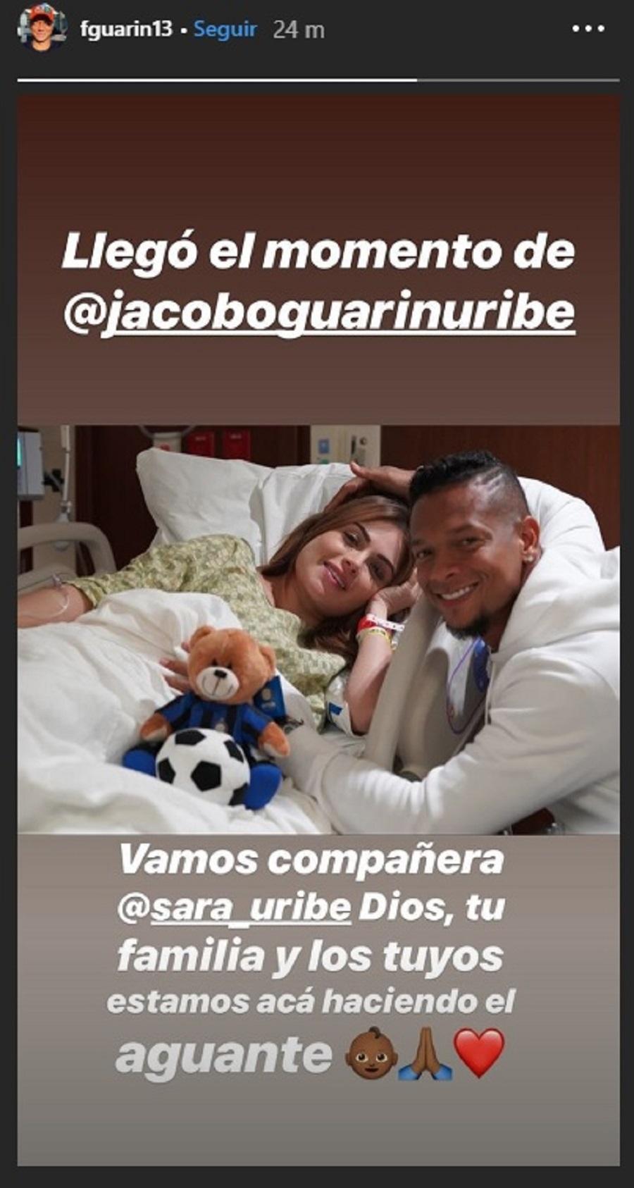 Mensaje de Fredy Guarín antes del nacimiento de su hijo