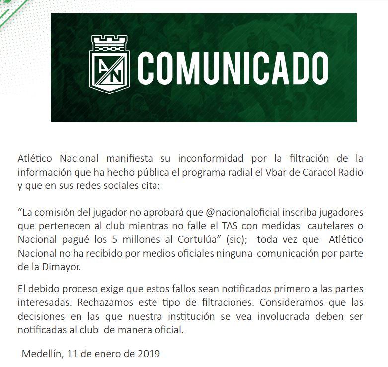 Nacional comunicado