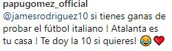 La propuesta de Papu Gómez a James Rodríguez