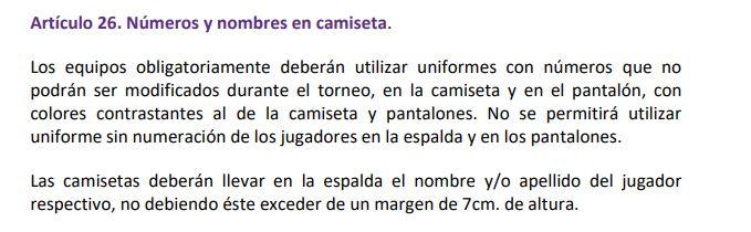 Artículo 20 reglamento Superliga de Argentina.