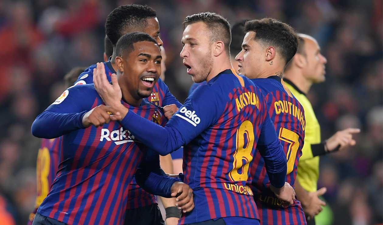 Malcom celebra el gol del empate del Barcelona ante Real Madrid en la Copa del Rey