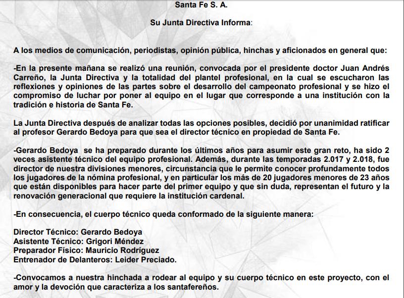 Comunicado, Independiente Santa Fe