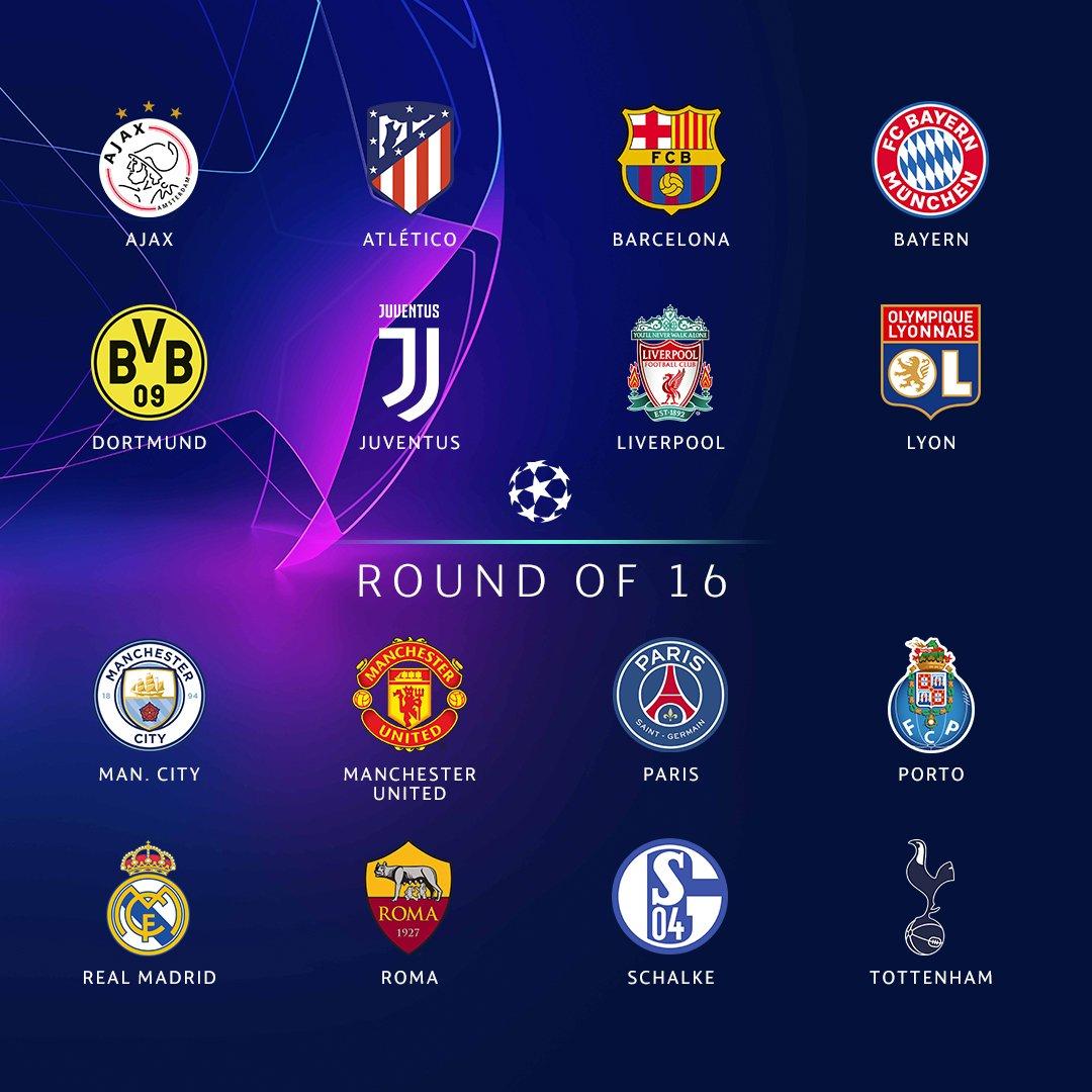 Los 16 equipos que disputan los octavos de final de la UEFA Champions League 18-19