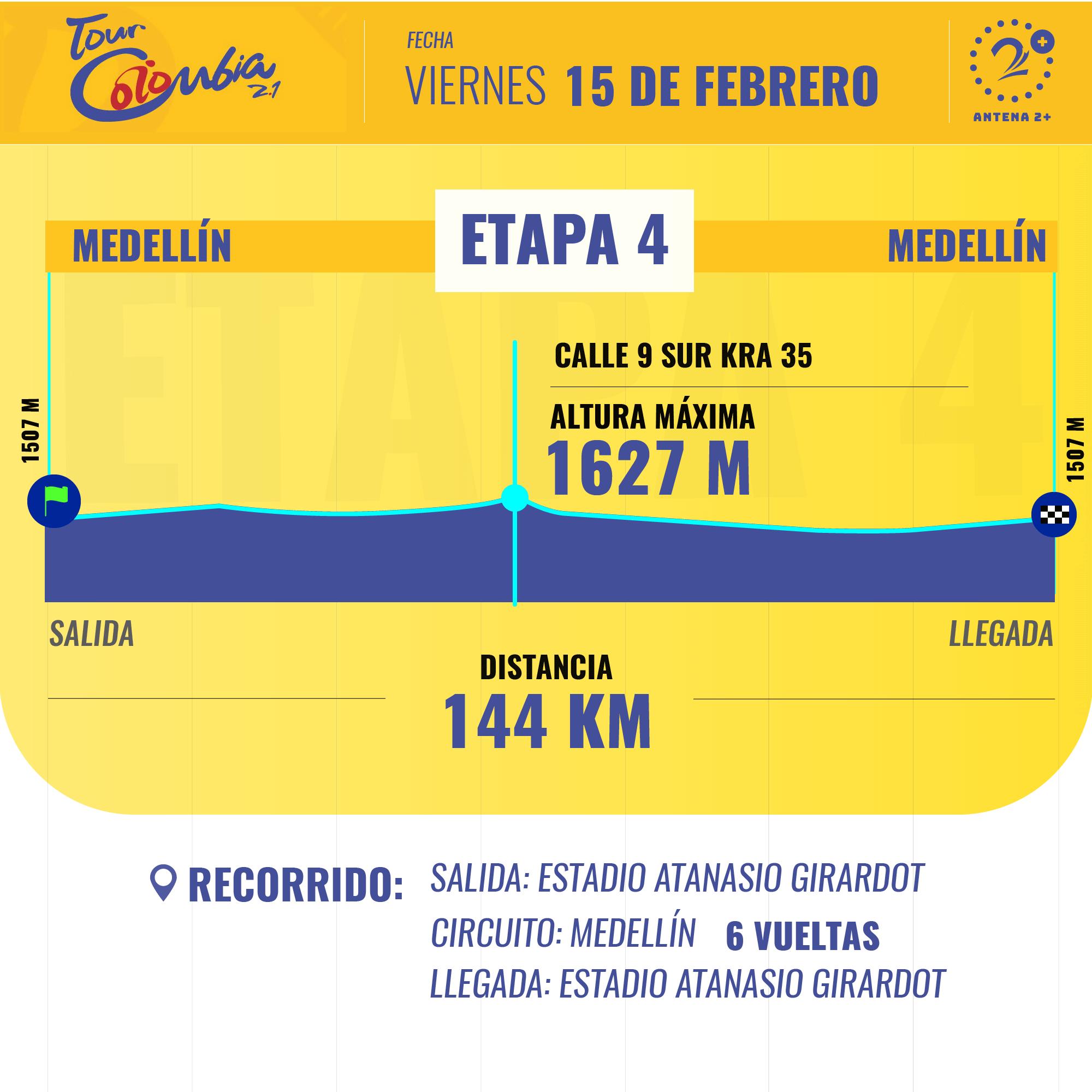 La cuarta etapa del Tour Colombia tendrá llegada sobre terreno llano este viernes.
