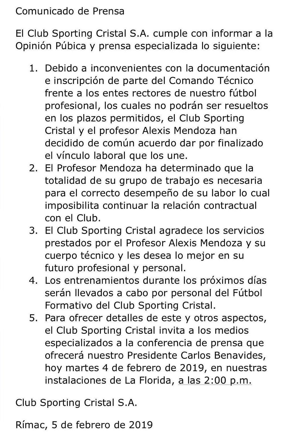 Comunicado Sporting Cristal