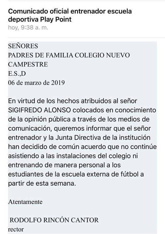 Colegio Nuevo Campestre informa que Sigifredo Alonso fue removido de su cargo
