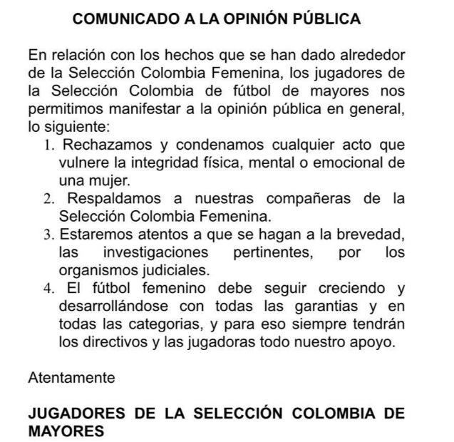 Comunicado jugadores selección Colombia