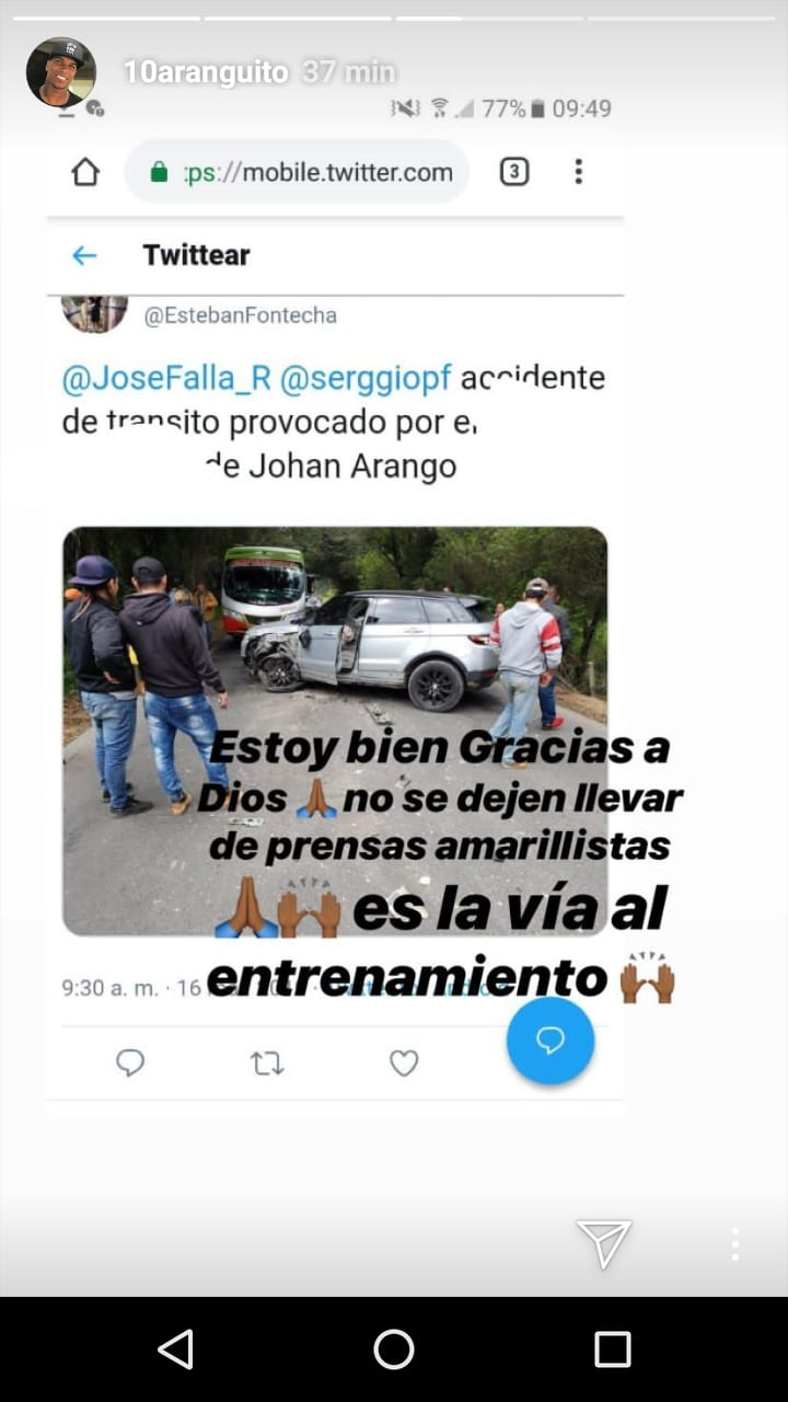 Historia de Johan Arango en Instagram