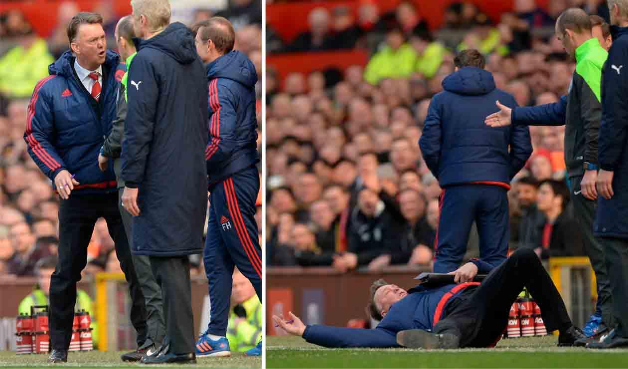 Louis van Gaal decidió tirarse al suelo para representar una supuesta simulación de Olivier Giroud