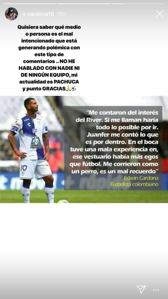 El mensaje de Edwin Cardona negando que esté interesado en jugar en River Plate